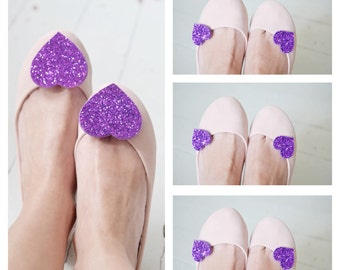 Violet shoe clip set, bridesmaid shoe clip set, lilac wedding shoe accessory