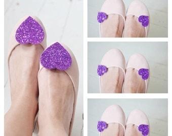 Violet shoe clip set, bridesmaid shoe clip set, lilac wedding shoe accessory