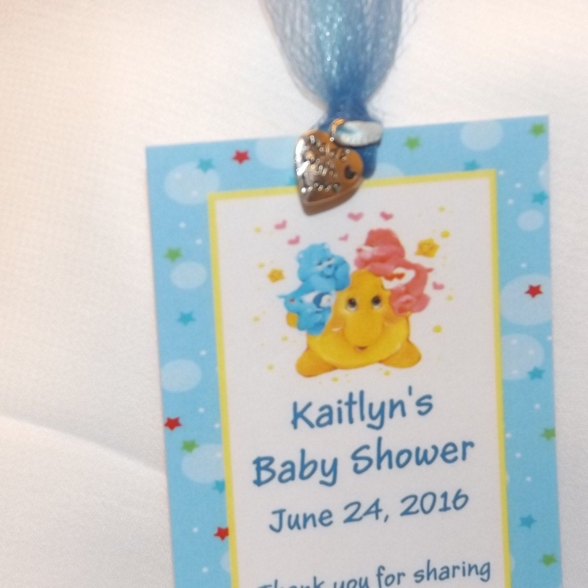 Baby Shower Themes Care Bears ~ Care bears baby shower bookmark favors by babyshowersbykim