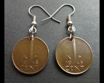 "Classic Antique (1948 Vintage ""Wilhelmina, Queen of the Netherlands"" - 1c DUTCH Bronze Coin Earrings w/ Hypoallergenic Hooks) Hooligan Goth!"