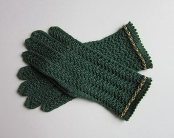 Womens Gloves Green Wool Gloves Knit Lace Gloves