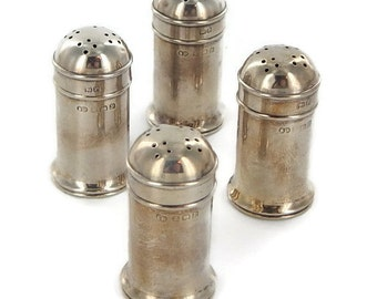 Set of Four English Sterling Silver Salt and Pepper Shakers