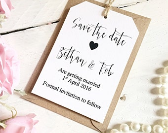 Save the date tags set of 50