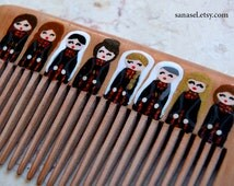 Hand painted wood comb, Palestine culture, Palestinian dress, painted Palestinian girls, olive branch, small wooden comb, made to order