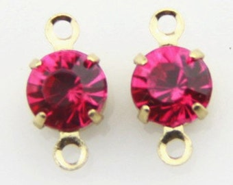 12 pcs of rhinestone 5mm with brass setting gold two loop charm-1160-Hot pink ewelry in gold setting