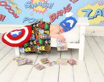 Captain America Themed Newborn Photo Prop