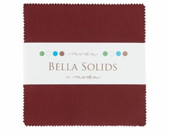 Bella Solids Charm Pack, Burgundy 9900PP-18 by Moda