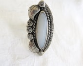 Sterling Moonstone Ring Vintage Navajo Beadwork Edge Flowers and Leaves