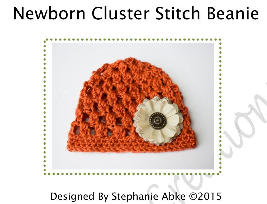 Free Crochet Pattern For Cluster Beanie : Newborn Cluster Stitch Beanie Hat Pattern Crochet Baby Hat