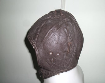 1930's Stunning and  Rare Original Black Brown  German Flying Leather Helmet Fantastic Condition