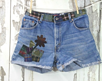 Women's Levi,Patched Cutoff Jeans,Upcycled Clothing,Boho Chic,Hippy Clothing, Repurposed Clothing