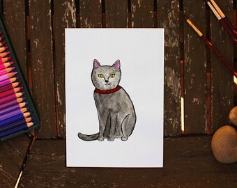 Original Cat Painting, Black Cat Painting, Cat Painting, Watercolor Cat, Cat Illustration, Black Cat Art, Cat Art, Cat Artwork, Cat Fine Art