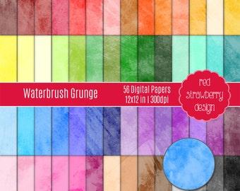 75% OFF Sale - 56 Digital Papers - Waterbrush Grunge - Instant Download - JPG 12x12 (DP107)