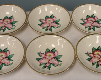 Paden City Pottery Modern Orchid  Plates  Set of Six outlined in 22 karat gold