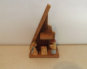 Small Wooden Nativity Decoration