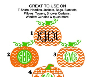 Chevron Pumpkin Monogram Iron Ons, Personalized Iron On, Shirts, Bags, Halloween Iron On, Monogram Pumpkin, Fall, Thanksgiving