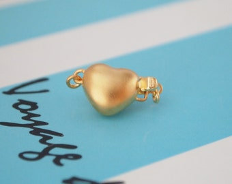1 pc, Box Clasp, 18K Gold Vermeil, Stardust Puffy Heart Shape, Single-strand, Necklace or Bracelet Clasp, DIY Supplies