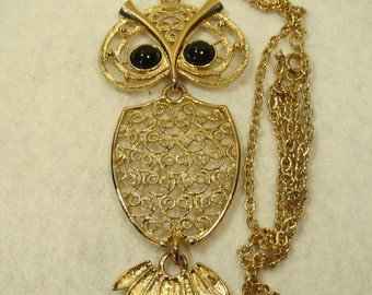Sarah Coventry Necklace Owl Articulating Gold Tone Filigree Body Nite Owl 1974