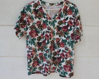 90s rose flower pattern cotton v neck top