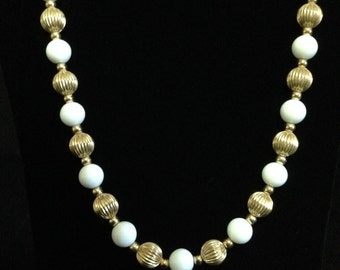 Vintage Brass and White Bead Necklace (JT5)