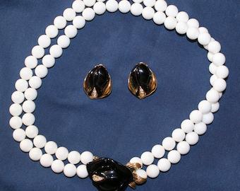 Black Plastic Rose Necklace & Earring Set for Avon by Kenneth J. Lane