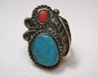 old southwest feather ring, size 6.25