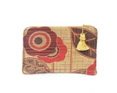 Boho clutch,  brown and red wallet, tapestry clutch,