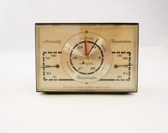 An 'Airguide' Weather Station - Retro Styled Faux Wood With Plexi Cover - Including Temperature and Humidity - Fun - Collectible - Decor