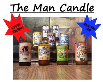 The Man Candle with NO pedestal (Customize Your Own: Choose a Beer Bottle & Scent)