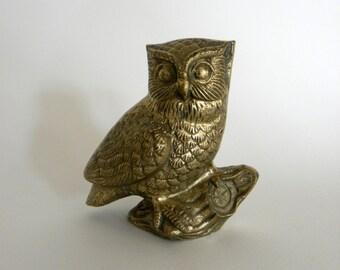 Vintage Brass Owl Figurine, Hollywood Regency Home Decor