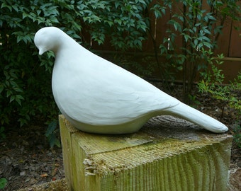 "Large Minimalistic Dove ""Dawn"" - Concrete/Cement Garden Statue - Modern Yard Art - Bird Sculpture"