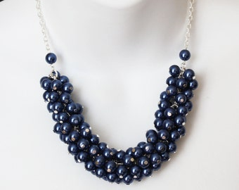 Navy Pearl Cluster Necklace, Navy Necklace, Bridesmaids Gift, Bridesmaids Necklace, Navy Pearl Necklace, Navy Cluster Necklace, Wedding