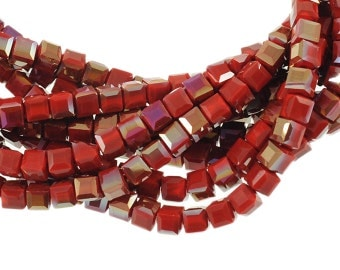 "6mm Satin Red Crystal Cubes with AB Finish - Full 16"" Strand - About 61 Beads - An Opaque Rich Velvet Red Color"