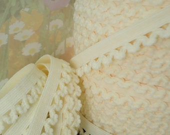 "5yd Elastic Trim egg cream Ivory 1/2"" Scallops Rick Rack Picot for Bra Trim Headbands Sewing lingerie Single sided Edging"