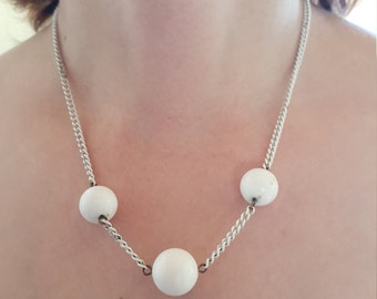 Space Age White Metal 60's Necklace