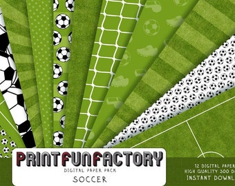 Soccer digital paper - grass paper sports world cup background - 12 digital papers (#098) INSTANT DOWNLOAD