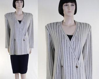 Vintage 1980s Women's St John by Marie Gray Suit / 2-Piece Knit Suit  / Size 14 / Navy Stripe Suit / Padded Shoulders / 1980s Fashion