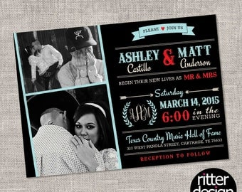 Wedding Invitation with Photos (ANY COLOR) - Printable Digital File
