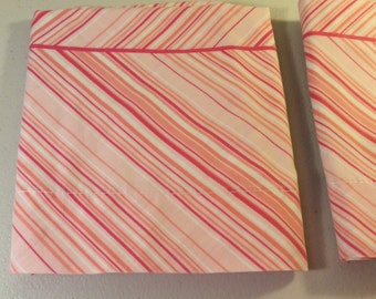 Vintage Pink Striped Pillowcases