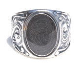 Floral Art Deco Style Wide Band Cremation Ring - Pet Cremation Jewelry