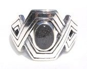 Sterling Silver Geometric Crisscross Cremation Ring - Pet Cremation Jewelry