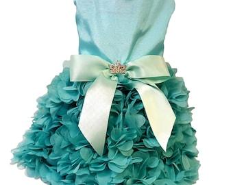 Dog Dress, Dog Clothing, Dog Wedding Dress, Pet Clothing, Aqua Satin with Heart Ruffles