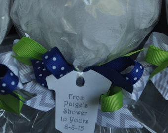 Navy Blue, Lime Green, and Gray Chevron Ready to Pop Baby Shower Favor Bath Puff Lollipop with Tag