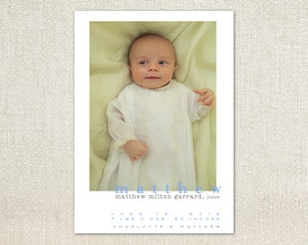 Simple Modern photo Baby Birth Announcements
