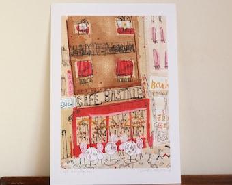 sale 30% CAFE BASTILLE PARIS, Signed Giclée Print, Mixed Media Painting Paris Wall Art, French Cafe Print, Montmartre, Parisian Watercolor