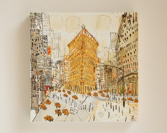 FLATIRON BUILDING New York Wall Art, NYC Canvas Print, Watercolor Painting, Manhattan Building, Architecture Flatiron Sketch Clare Caulfield