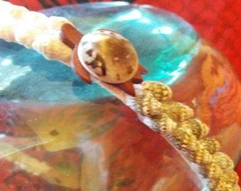 Hand made Shell and wood headband (Opihi shell Honu)