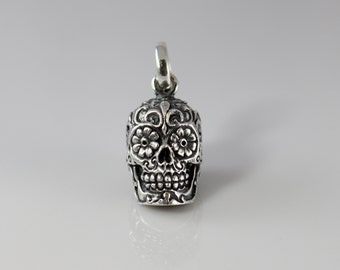 Handmade Sterling Silver Sugar Skull Day of the Dead Pendant