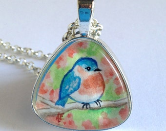 Bluebird - Hand Painted - Original - Watercolor Art - Pendant Necklace - Jewelry