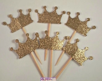 24 Gold Glitter Princess Crown Cupcake picks  - Tiara Gold and Pink Party - Tiarra Royal Appetizer picks - Prince Party - Wedding Decor